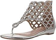 DREAM PAIRS Women's Jewel Fashion Rhinestones Design Ankle Strap Flat San