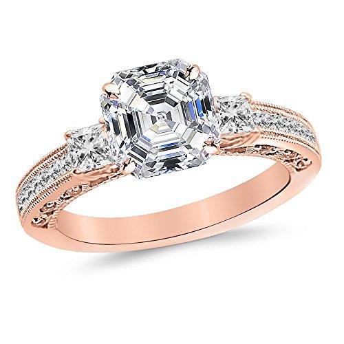 1.1 Carat 14K Rose Gold Three 3 Stone Princess Cut Channel Set Asscher Cut Diamond Engagement Ring (0.6 Ct E Color SI1 Clarity Center - Engagement Asscher Ring Diamond