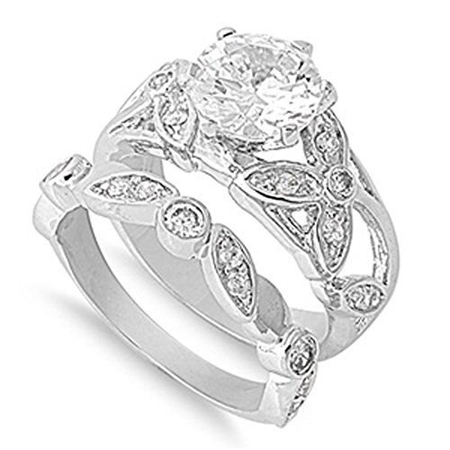 Sterling Silver Custom Engagement Ring & Wedding Band Bridal Set Clear Round CZ Size 10