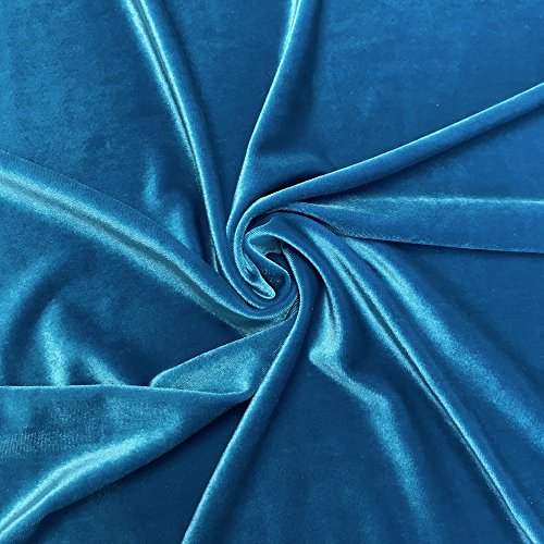 (Stretch Velvet Fabric 60'' Wide by the Yard for Sewing Apparel Costumes Craft (1 YARD,)