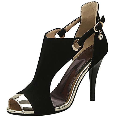 Women Heel TAOFFEN Black Summer High Sandals Peep Toe Stylish Shoes fnw6Sd