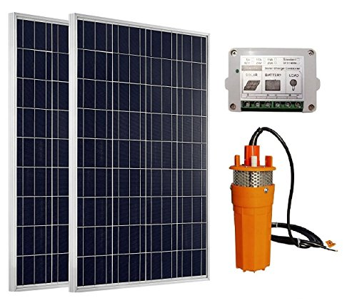 ECO-WORTHY High Power 2pc 100W Solar Panel + 24V Deep Well Submersible Water Pump & 15A Charge (Submersible 4' Motor)