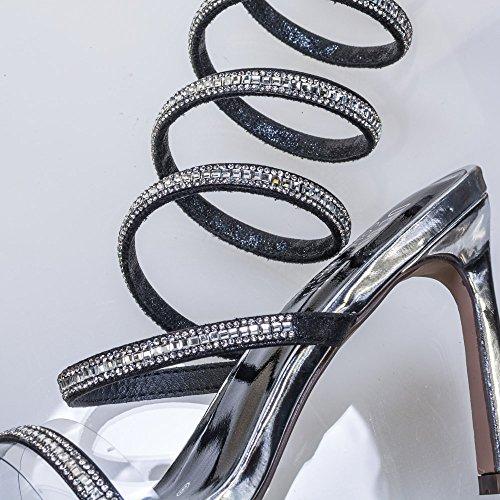 Rhinestone Snake Coil Spiral Leg Wrap High Heel Lucite Clear Strap Black lU0aTqZefX