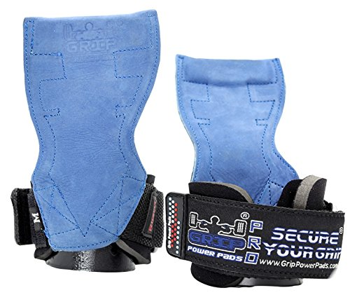 Lifting Grips PRO Weight Gloves Best Heavy Duty Straps Alternative to Power Hooks Deadlifts Adjustable Neoprene Padded Wrist Wrap (Blue Nubuck Leather, Large 7.50