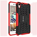 TARKAN Dazzle Hard Armor Hybrid Rubber Bumper Flip Stand Rugged Back Case Cover For HTC Desire 728G Dual Sim (Red)