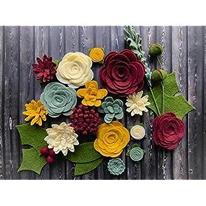 Wool Felt Flowers - Victorian Christmas Flowers - 19 Flowers & 24 leaves - DIY Christmas Wreaths, Garlands, Headbands 7