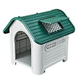 SENYEPETS Outdoor Indoor Plastic Dog Houses Carry Skylight Portable Pet Waterproof Plastic Dog Kennel Puppy Shelter (Green)