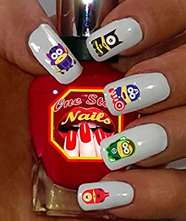 Amazon Super Heroes Minions Nail Decal Tattoo Nail Sticker