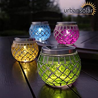 urban solar powered set of 4 colour led mosaic candle jars. Black Bedroom Furniture Sets. Home Design Ideas