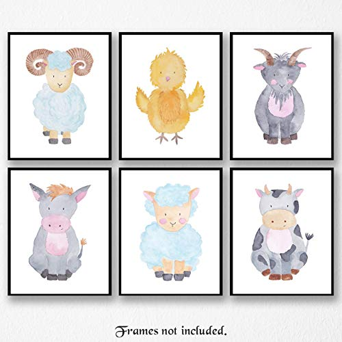 Baby Barnyard Farm Animals Pictures - Set of 6 (Six) Poster Prints - Unframed 8x10 Wall Art for Home, Nursery or Playroom - Cow, Chick, Goat, Lamb, Donkey, Ram - Great Wall Art Decor Gifts Under $15