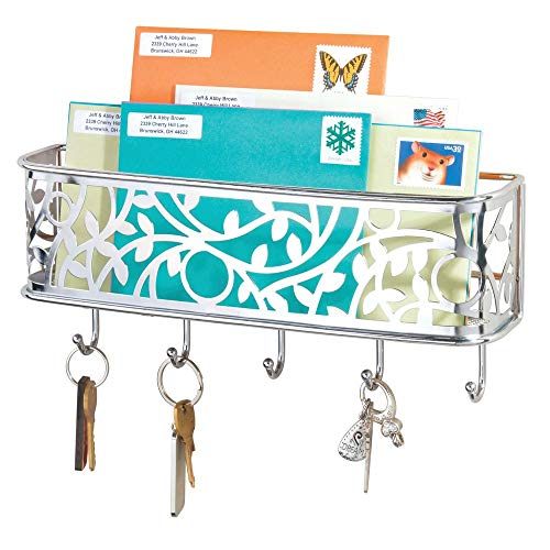 mDesign Wall Mount Metal Entryway Storage Organizer Mail Sorter Basket with 5 Hooks - Letter, Magazine, Coat, Leash and Key Holder for Entryway, Mudroom, Hallway, Kitchen, Office - Chrome (Chrome Walls Letters For)