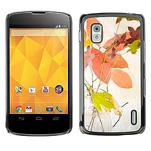 Be Good Phone Accessory // Dura Cáscara cubierta Protectora Caso Carcasa Funda de Protección para LG Google Nexus 4 E960 // Autumn Leaves Yellow Colorful Nature