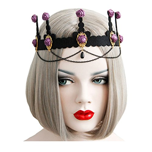 Evil Vampire Queen Costumes (Halloween Headbands for Cosplay Party Costumes Vampire Bat Evil Elastic Hairband Red Rose Girls Crown Hair Accessories (Baroque crown))