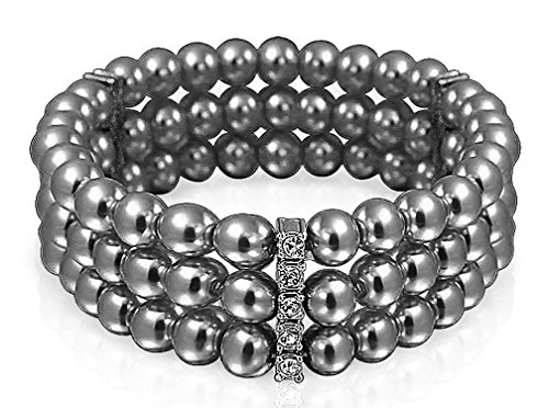 Bling Jewelry Triple Strand 6mm Simulated Grey Pearl Stretch Bracelet 6in Rhodium Plated (Elastic Bracelet Of Mother Pearl)
