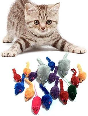 PietyPet Juguetes para Gatos, 16 Piezas Peludo Ratones sonajero pequeño Ratón Gato Gatito Interactivo, Colores Variados: Amazon.es: Hogar