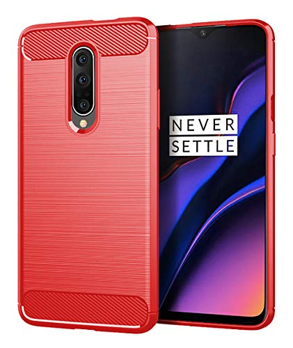 (OnePlus 7 Pro Case,UCC Shock Resistant Brushed Flexible Soft TPU Bumper Cover Phone Protective and Carbon Fiber Design for OnePlus 7 (Red))