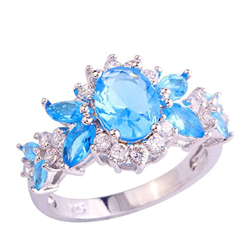 Emsione 925 Sterling Silver Plated Created Blue&White Topaz Cluster Women Band Ring Size 6-9