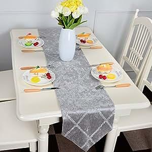 Top Finel Rayas en forma de diamante de color corredor de la tabla de mezcla camino con borlas para la cena artística fiesta decoración de la boda mesa de comedor manera(28cmx210cm)Gris