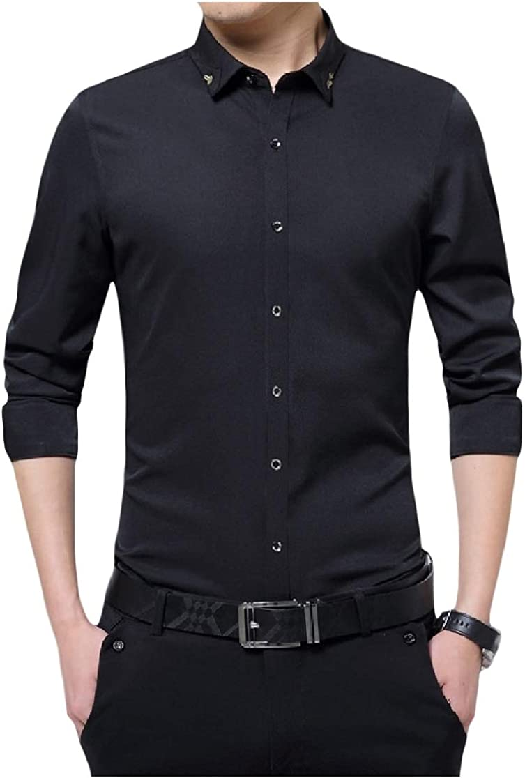 Comaba Mens Solid Silm Fit Gentleman Buttoned Casual Bussiness Shirt