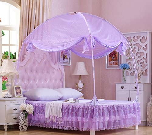 RuiHome 3-Doors Style Bed Mosquito Net Tent with Floor Home Bedroom Anti-bites Insect Mesh Netting (47''x79''x67'', Purple) by RuiHome (Image #2)
