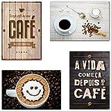 Kit com 4 Placas em MDF - Café - R+ Adesivos