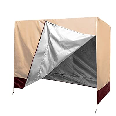 """Patio Swing Cover, Heavy Duty 3 Triple Seater Hammock Cover, Waterproof Glider Canopy Replacement Cover, Patio Furniture Cover, Universal Size 87""""Lx49""""Wx67""""H (Beige) : Garden & Outdoor"""