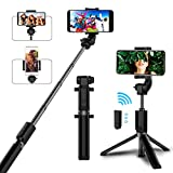 Selfie Stick Bluetooth, AYY Extendable Selfie Stick Tripod with Wireless Remote Selfie Stick for iPhone X/iPhone 8/8 Plus/iPhone 7/iPhone 7 Plus/iPhone 6/Galaxy S9/S9 Plus/S8/Note 8/Note 9/More