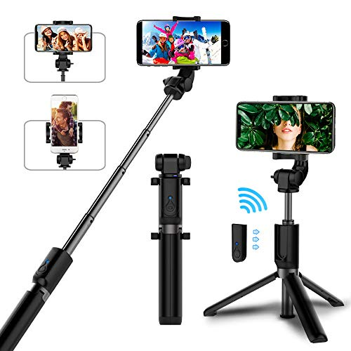 Selfie Stick Bluetooth, AYY Extendable Selfie Stick Tripod with Wireless Remote Selfie Stick for iPhone X/iPhone 8/8 Plus/iPhone 7/iPhone 7 Plus/iPhone 6/Galaxy S9/S9 Plus/S8/Note 8/Note 9/More by AYY