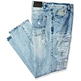 Southpole Men's Big and Tall Denim Pants Long Destructed Ripped and Repaired in Washed Colors, Light Sand Blue, 46