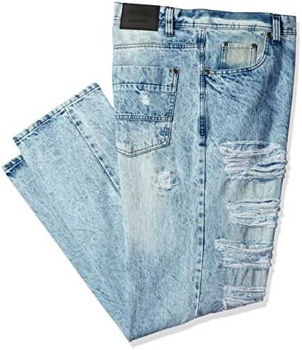 Southpole Men's Big and Tall Denim Pants Long Destructed Ripped and Repaired in Washed Colors