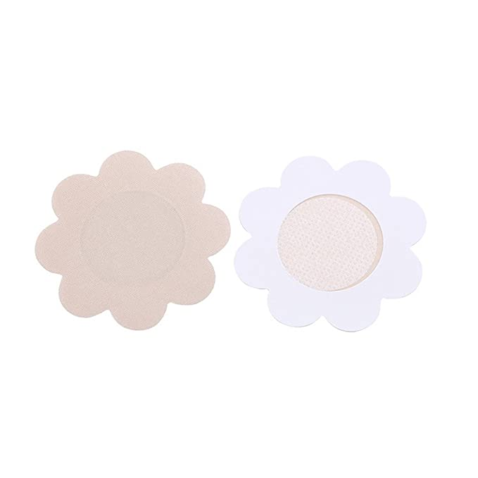 fd6e497765a7b Women s Breast Nipple Pasties Cover Bra Pad Patches Self Adhesive Sticker  Petals Flower (Beige)  Amazon.in  Clothing   Accessories