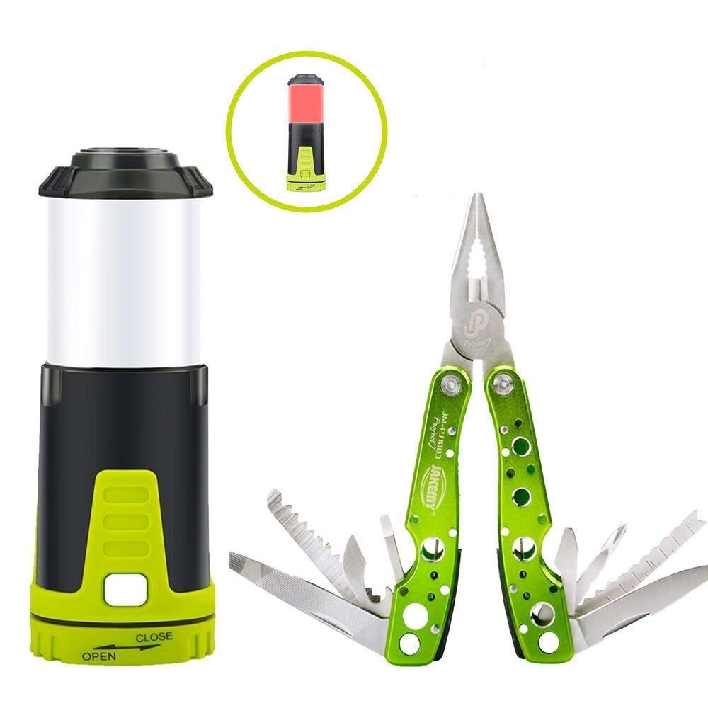 Jakemy 15 in 1 Multitool Knife & 2 in 1 Flashlight Lantern, Multi-Purpose Pocket Knife, 5 Modes Light Portable Led Lantern for Emergency Camping Hunting Fishing Outdoor Survial