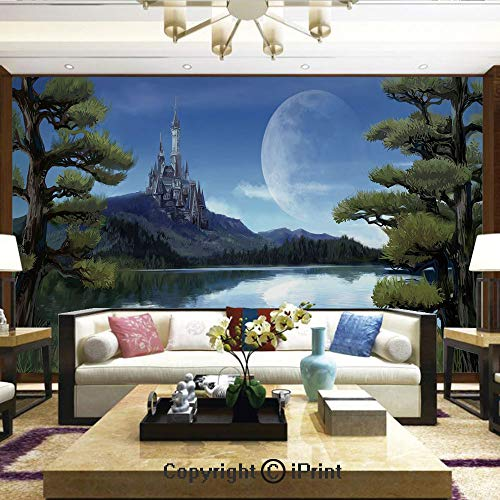 (Wallpaper Nature Poster Art Photo Decor Wall Mural for Living Room,Moon Surreal Scene with Riverside Lake Forest and Medieval Castle on Hill Art,Home Decor - 66x96)