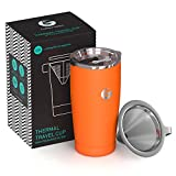 Coffee Gator Pour Over Coffee Maker - All in One Paperless Travel Brewer - 17floz - Thermal Vacuum Cup With Micro Mesh Filter - Orange