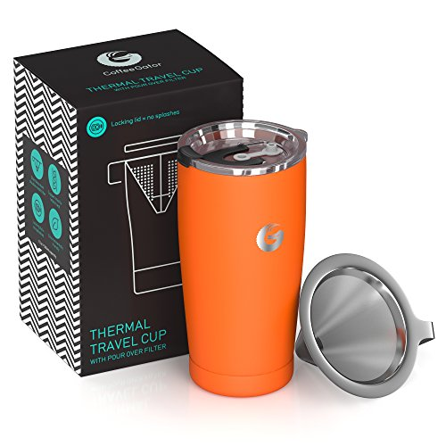 (Coffee Gator Pour Over Coffee Maker - All in One Thermal Travel Mug and Brewer - Vacuum Insulated Stainless Steel - 20 ounce - Orange )
