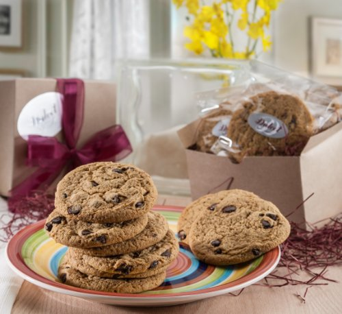 Dulcet Chocolate Chip Cookie Gift Baskets-Includes: 12 of Chocolate Chip Cookies, Individually Wrapped, Fresh Baked Chocolate Chip Cookies, Gourmet Gift Kraft Box, ideal gift idea, (Gourmet Gifts Delivered)