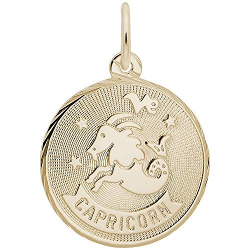Gold Plated Capricorn Charm, Charms for Bracelets and Necklaces (Charm Capricorn Plated Gold)