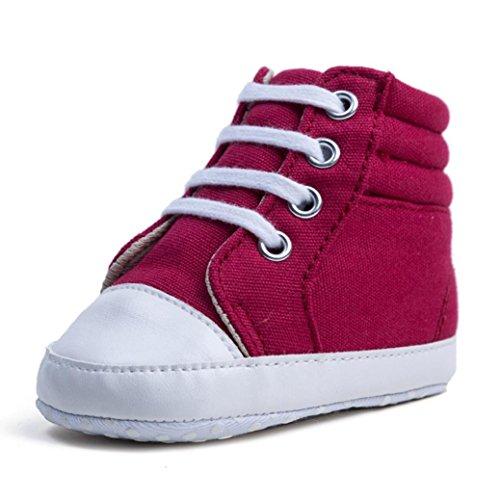 Hunpta Neugeborenes Baby Kleinkinder Mädchen Junge High Top Camouflage Weiche rutschfeste Segeltuchschuhe Rot 1