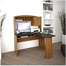 Corner L Shaped Office Desk with Hutch, Black and Alder
