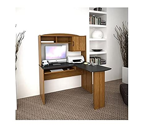 Amazon.com: Corner L Shaped Office Desk with Hutch, Black and ...