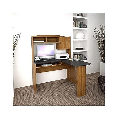 Corner L Shaped Office Desk With Hutch Black And Alder