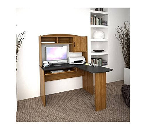 Corner L Shaped Office Desk with Hutch, Black and (Alder Table)