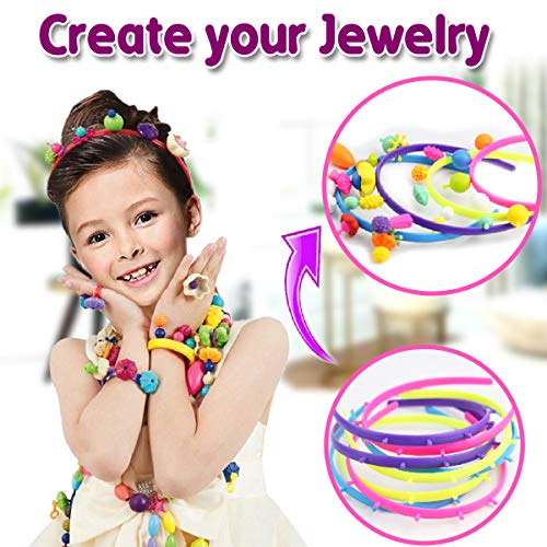 Kids Jewelry Beads with White Beads,550 PCS Jewelry Making Kit for Girl Making Necklace Bracelet Hairband Ring Ideal for Birthday Party Decoration Play