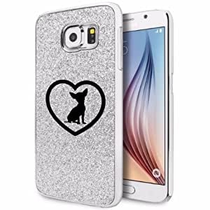 Samsung Galaxy S6 Glitter Bling Hard Case Cover Chihuahua Heart (Silver)