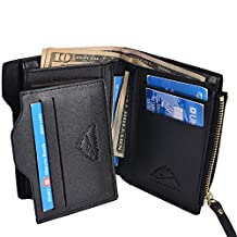 Hopsooken Mens Leather Bifold Wallet Rfid Men Slim Front Pocket Wallet Trifold (Black with Vertical)