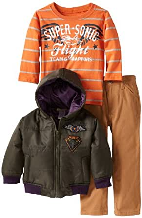 Nannette Little Boys' Three Piece Planes Jacket with Pullover and Pant, Green, 3T
