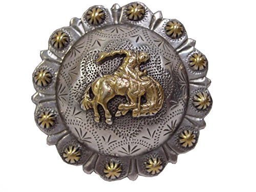 Shaped Conchos - Western Antique Silver Concho Cowboy Bucking Bronc, 1