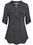 BEPEI Tunic Tops for Leggings for Women,3/4 Roll Tab Half Sleeve Polka Dot Pattern Flare Solid Fabric Chiffon T Shirt Front Zip Nursing Top Henley V Neck Pleated Back Curved Hem Tunic Black White XL