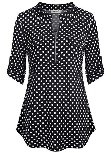 (BEPEI Work Blouses for Women,Winter Ruched Sleeve Empire Waist Sexy Office Tunic Petite Semi Formal Professional Chiffon Polka Dot Shirt Flap Pocket Shirttail Tops for Skinny Dress Pants Black White L)