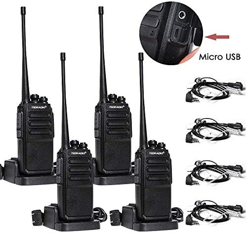 2 Way Radio Walkie Talkies Rechargeable Long Range UHF Two Way Radio Long Distance Walkie Talkies with Micro USB Charging Cable Air Acoustic Earpiece, 4 Pack